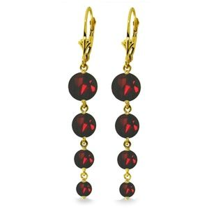 14K GOLD CHANDELIER EARRING WITH NATURAL GARNETS